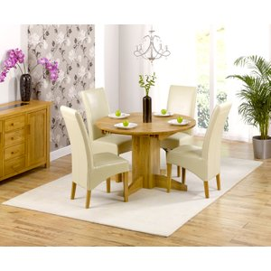 Oak Furniture Superstore Dorchester 120cm Solid Oak Round Extending Dining Table With Cannes Chairs - Black, 4 Chai PT29783, Black