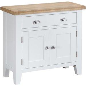 Oak Furniture Superstore Eden 2 Door 1 Drawer Oak And White Sideboard Ede Sms W, Oak and White