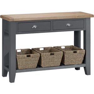Oak Furniture Superstore Eden Oak And Grey Large Console Table Ede Lcon Ch, Oak and Grey