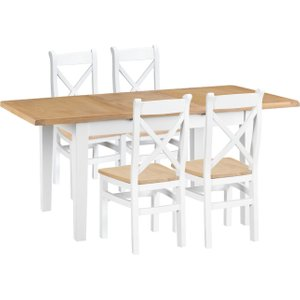 Oak Furniture Superstore Eden Oak And White 120cm Butterfly Extending Table With Cross Back Dining Chairs - Oak And EDE CBCW W, Oak and White