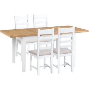 Oak Furniture Superstore Eden Oak And White 120cm Butterfly Extending Table With Ladder Back Dining Chairs With Fab EDE CHF W, Oak and White
