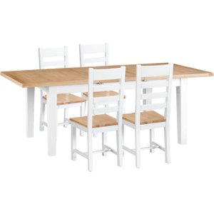 Oak Furniture Superstore Eden Oak And White 160cm Butterfly Extending Table With Ladder Back Dining Chairs - Oak An EDE CH W, Oak and White