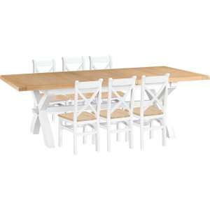 Oak Furniture Superstore Eden Oak And White 180cm Butterfly Extending Table With Cross Back Dining Chairs - Oak And EDE CBCW W, Oak and White