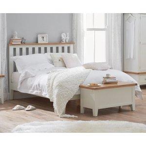 Oak Furniture Superstore Eden Oak And White Double Bed EDE 46 W, Oak and White
