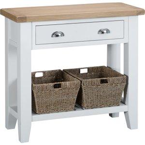 Oak Furniture Superstore Eden Oak And White Small Console Table Ede Con W