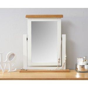 Oak Furniture Superstore Eden Oak And White Trinket Mirror EDE TM W, Oak and White