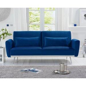 Oak Furniture Superstore Elena Blue Velvet Sofa Bed Pt32517, Blue