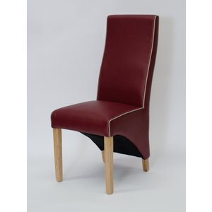 Oak Furniture Superstore Emperor Contrast Stitching Bonded Red Leather Wave Back Dining Chairs CHWAVE PIPING RED SINGLE, Red