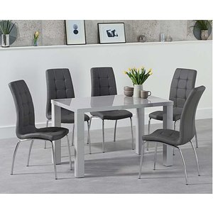 Oak Furniture Superstore Ex-display Atlanta 160cm Light Grey High Gloss Dining Table With 4 Grey Calgary Chairs Pt92198