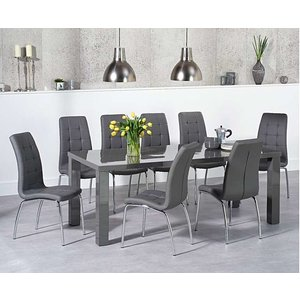 Oak Furniture Superstore Ex-display Atlanta 200cm Dark Grey High Gloss Dining Table With 4 Grey Calgary Chairs Pt93141