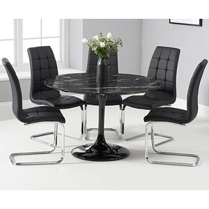 Oak Furniture Superstore Ex-display Brighton 120cm Round Black Marble Dining Table With 4 Black Lorin Dining Chairs Pt94396
