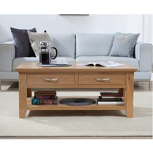 Oak Furniture Superstore Ex-display Cheadle Oak Four Drawer Coffee Table Pt93157, Ash