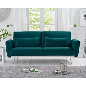 Oak Furniture Superstore Ex-display Elena Green Velvet Sofa Bed Pt94146
