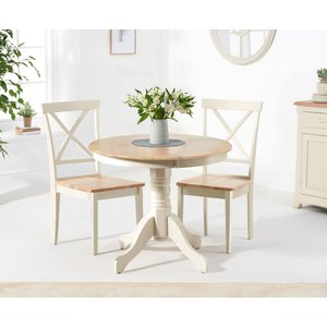 Oak Furniture Superstore Ex-display Epsom 90cm Oak And Cream Dining Table With Two Chairs Pt94088