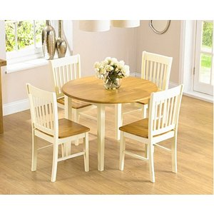 Oak Furniture Superstore Ex-display Genoa 100cm Drop Leaf Extending Dining Table Set With Two Chairs Pt94319