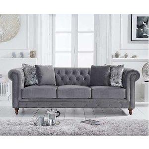 Oak Furniture Superstore Ex-display Milano Chesterfield Grey Velvet 3 Seater Sofa Pt93631