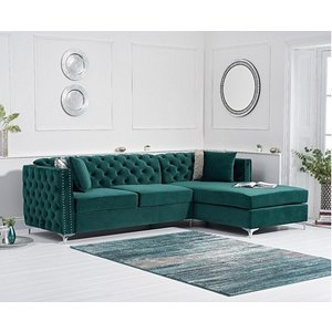 Oak Furniture Superstore Ex-display Mistral Right Facing Green Velvet 4 Seater Corner Chaise Sofa Pt94267