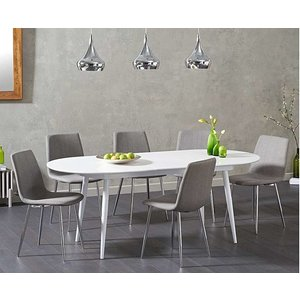 Oak Furniture Superstore Ex-display Olivia Extending White High Gloss Dining Table With 4 Light Grey Helsinki Fabri Pt93439