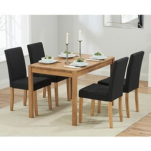 Oak Furniture Superstore Ex-display Oxford 120cm Solid Oak Dining Table With 4 Black Mia Fabric Chairs Pt91040