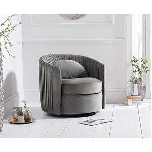 Oak Furniture Superstore Ex-display Sarah Grey Velvet Swivel Chair Pt93046