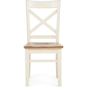 Oak Furniture Superstore Ex-display Set Of 2 Cavendish Solid Oak And Cream Dining Chairs Pt92874