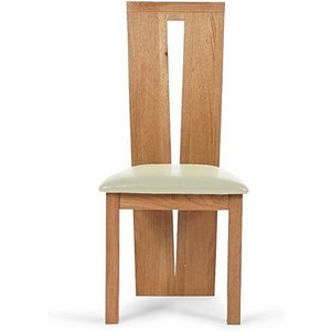 Oak Furniture Superstore Ex-display Set Of Four Montreal Solid Oak And Cream Dining Chairs Pt94232