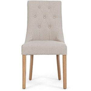 Oak Furniture Superstore Ex-display Set Of Four Pacific Beige Fabric Oak Leg Dining Chairs Pt93231, Ash
