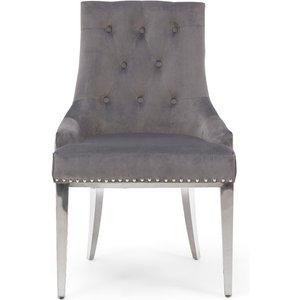 Oak Furniture Superstore Ex-display Set Of Four Talia Grey Velvet Dining Chairs Pt93971
