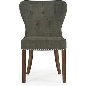 Oak Furniture Superstore Ex-display Set Of Six Knightsbridge Studded Grey Fabric Dark Oak Leg Dining Chairs Pt90806