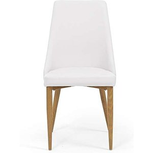 Oak Furniture Superstore Ex-display Set Of Two Ashford White Faux Leather Dining Chairs PT93026, Ash