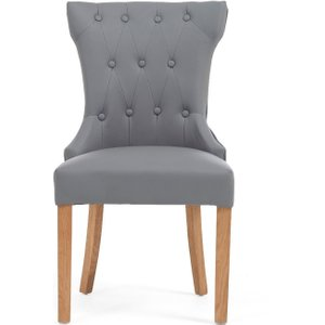 Oak Furniture Superstore Ex-display Set Of Two Camille Grey Faux Leather Dining Chairs Pt94031