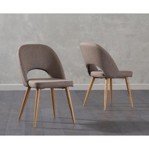 Oak Furniture Superstore Ex-display Set Of Two Halifax Brown Fabric Dining Chairs PT93024, Ash