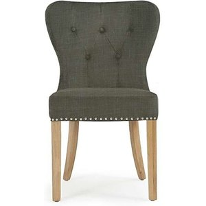 Oak Furniture Superstore Ex-display Set Of Two Knightsbridge Studded Grey Fabric Oak Leg Dining Chairs Pt90082
