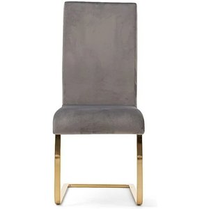 Oak Furniture Superstore Ex-display Set Of Two Malaga Grey Velvet Gold Leg Dining Chairs Pt94221