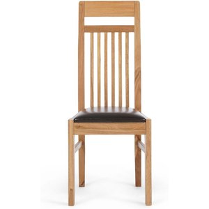 Oak Furniture Superstore Ex-display Set Of Two Monaco Solid Oak And Black Dining Chairs Pt94118