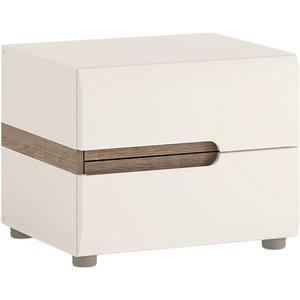 Oak Furniture Superstore Fulham 2 Drawer Bedside 4029644, Oak and White