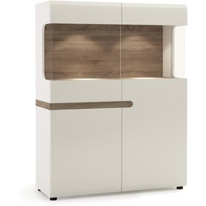 Oak Furniture Superstore Fulham Low 109cm Display Cabinet 4023344p, Oak and White