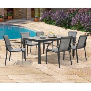 Oak Furniture Superstore Gardenia 180cm Dark Grey Garden Table And Gardenia Chairs - Grey, 6 Chairs Pt31657, Grey