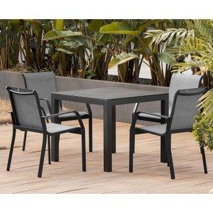 Oak Furniture Superstore Gardenia 90cm Dark Grey Garden Table And Calla Chairs - Grey, 2 Chairs Pt31656, Grey