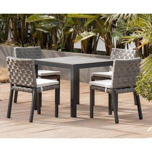Oak Furniture Superstore Gardenia 90cm Light Grey Garden Table And Gardenia Chairs - Grey, 2 Chairs Pt31657, Grey