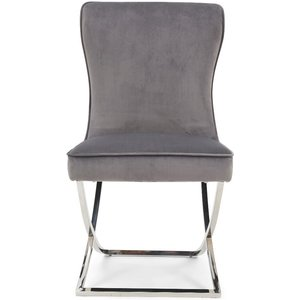 Oak Furniture Superstore Giovanni Grey Velvet Dining Chairs - Grey, 2 Chairs Pt30501, Grey