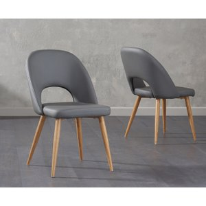 Oak Furniture Superstore Halifax Grey Faux Leather Dining Chairs HAL GREY FAUX 7256 24097, Grey