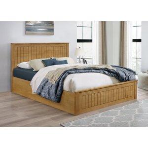 Oak Furniture Superstore Idaho Oak King Size Ottoman Bed Faotb5oak, Oak