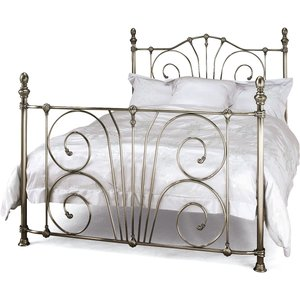 Oak Furniture Superstore Jessika 150cm Double Bed In Antique Nickel Jess500anbed, Silver