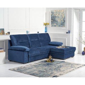 Oak Furniture Superstore Josephine Blue Velvet Right Hand Facing Corner Sofa Bed Pt31370, Blue