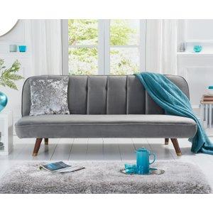 Oak Furniture Superstore Julietta Grey Velvet Sofa Bed PT32978, Grey