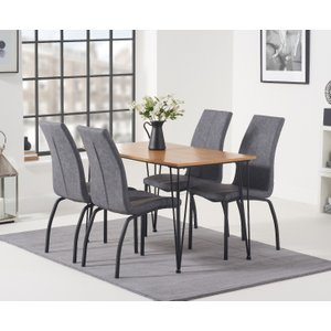 Oak Furniture Superstore Kalmar 120cm Dining Table With Noir Antique Dining Chairs - Brown, 4 Chairs PT36201, Brown