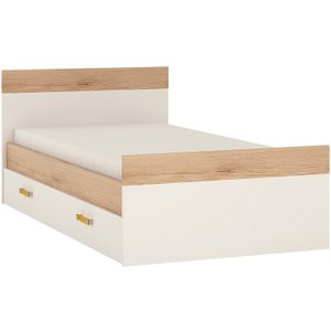 Oak Furniture Superstore Kindle Single Bed With Under Drawer And Orange Handles 4059044p, Oak and White