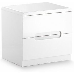 Oak Furniture Superstore London White High Gloss 2 Drawer Bedside Chest MAN201, White