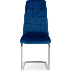 Oak Furniture Superstore Lorin Blue Velvet Dining Chairs - Blue, 2 Chairs Pt30587, Blue